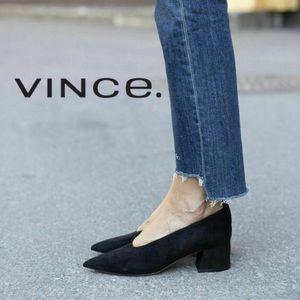 VINCE Block Heel Pointed Toe Pumps Black Suede